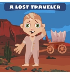 Lost traveler on prairie with a broken cart vector