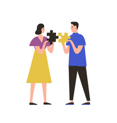 man and woman assembling jigsaw puzzle flat vector image