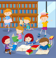 Many students reading books in library vector