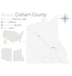 Map graham county in arizona vector