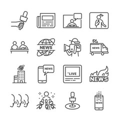 news line icon set vector image