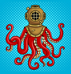 octopus and old diver helmet pop art vector image
