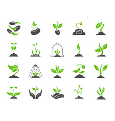organic sprout simple color flat icons set vector image