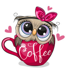 Owl with a bow is sitting in a cup coffee vector