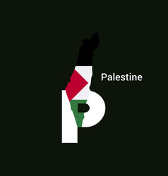 palestine initial letter country with map and vector image