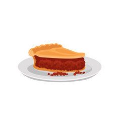 piece of delicious pork pie on white plate vector image