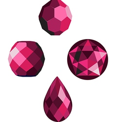 pink crystal faceted beads vector image