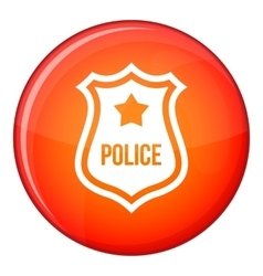 Police badge icon flat style vector