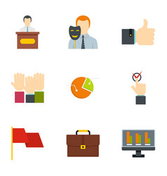 Policy icons set flat style vector