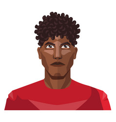 Pretty guy wearing a red shirt and curly hair on vector
