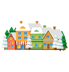 row houses in winter village or town vector image