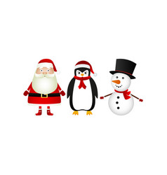 santa claus with reindeer and penguin in the vector image