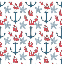 seamless pattern of marine symbols vector image