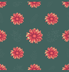 Seamless pattern with pink and orange daisy flower vector