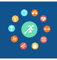Set health and fitness circular icons Infographics vector image