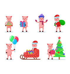 set of cute little animal piglets vector image