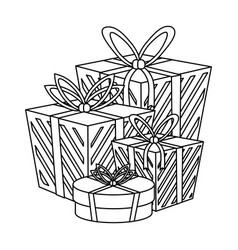 shopping gift boxes in black and white vector image