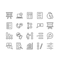simple set survey related line icons vector image