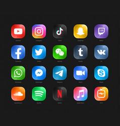 Social media modern glass 3d web icons set vector