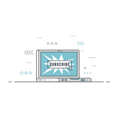 Subscribe button laptop concept vector