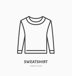 sweatshirt sweater flat line icon casual apparel vector image