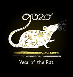 symbol year decorative white rat vector image