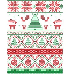 Tall xmas pattern with xmas tree in red green vector
