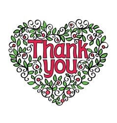 thank you hand lettering in shape heart vector image