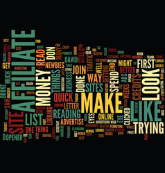 The affiliate list text background word cloud vector