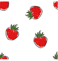 the pattern hand draw strawberries vector image
