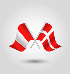 Two crossed peruvian and danish flags vector