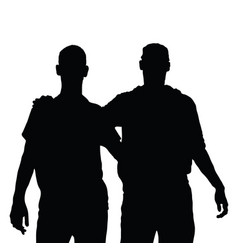 Two men and embrace black silhouette vector