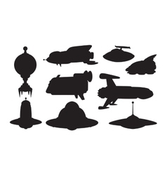 UFO spaceship set vector