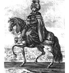 vintage engraving ottoman sultan vector image
