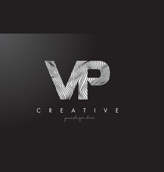 vp v p letter logo with zebra lines texture vector image