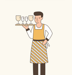 waiter serving wine flat vector image
