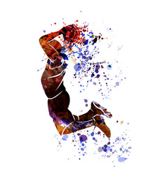 Watercolor silhouette of basketball player vector