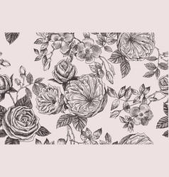 Wild roses blossom branch seamless pattern vector