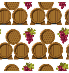 wine brewery barrels and grapes seamless pattern vector image