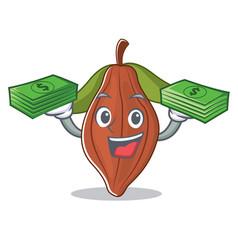 With money cacao bean mascot cartoon vector