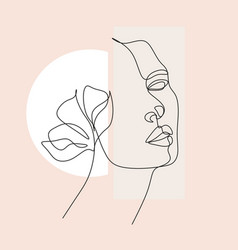 Woman face with butterfly botanical print vector