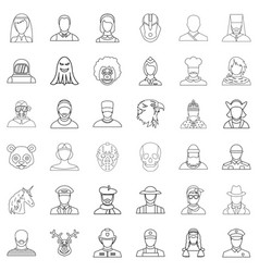 woman icons set outline style vector image