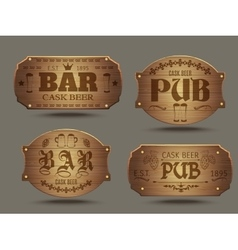 Wooden pub bar signs set vector