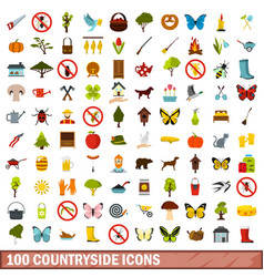 100 countryside icons set flat style vector
