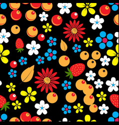 Abstract seamless pattern with berries leaves and vector