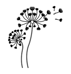 black silhouette flying blow dandelion buds vector image vector image