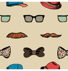 Bow tie glasses and mustache seamless pattern vector image