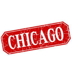 chicago red square grunge retro style sign vector image