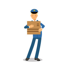 postman in blue uniform holding cardboard box vector image vector image