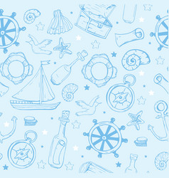 sea elements pattern marine seamless background vector image vector image